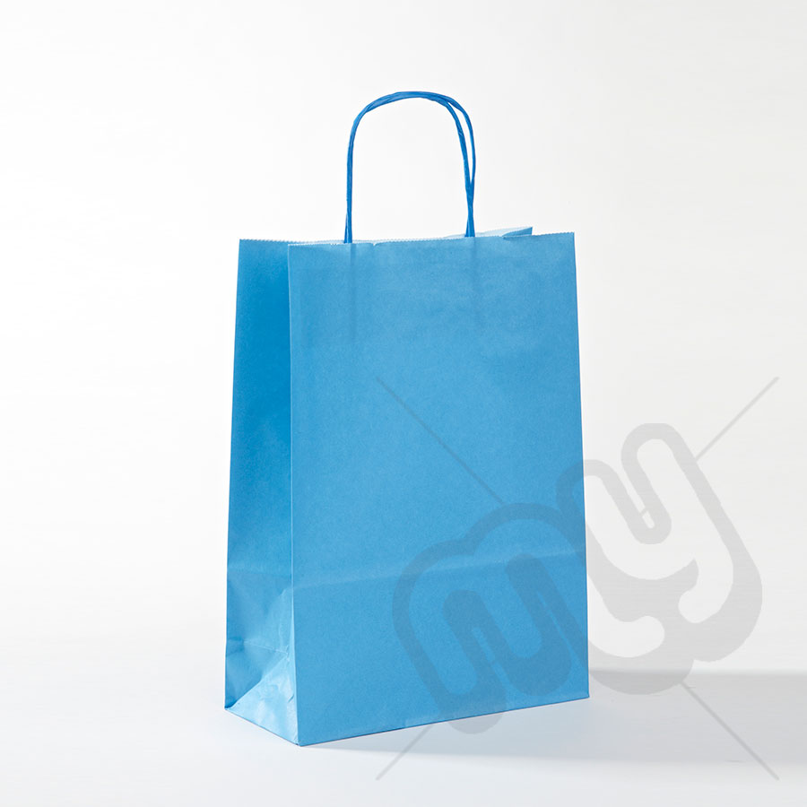 Blue Kraft Paper Bags with Twisted Handles - MEDIUM x 50pcs