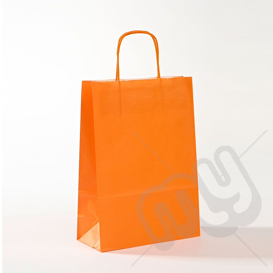 Orange Kraft Paper Bags with Twisted Handles - Medium x 25pcs - My ...