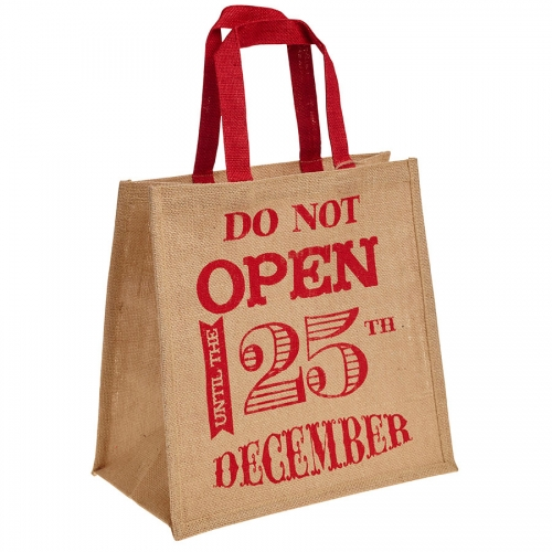Do Not Open Until 25th December Hessian Christmas Bag for Life - Large