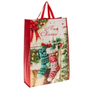 Decorated Fireplace with Stockings and Baubles Christmas Bag for Life - Jumbo