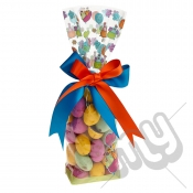 Dancing Chicken & Balloon Easter Printed Block Bottom Bags - 100mmx220mm x 100pcs
