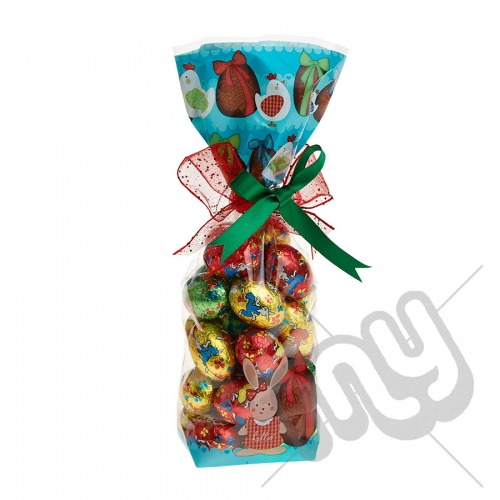Turquoise Easter Egg and Hen Printed Block Bottom Bags - 100mmx220mm x 50pcs