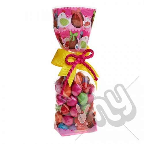 Pink Easter Egg and Hen Printed Block Bottom Bags - 100mmx220mm x 10pcs