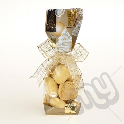 Golden Christmas Printed Block Bottom Bags - 100mmx220m x 50pcs
