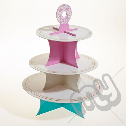 3 Tier Elegant Striped Baroque Cake Stand x 1pc
