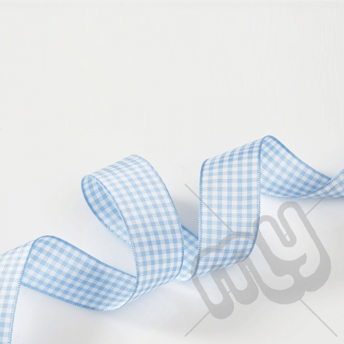 Sky Blue Gingham Ribbon 10mm x 20 metres