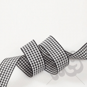 Black Gingham Ribbon 15mm x 20 metres