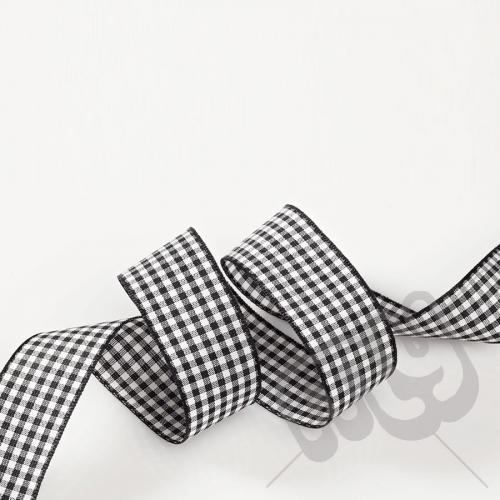 Black Gingham Ribbon 25mm x 20 metres