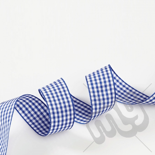 Blue Gingham Ribbon 10mm x 20 metres