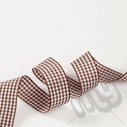 Chocolate Brown Gingham Ribbon 25mm x 20 metres