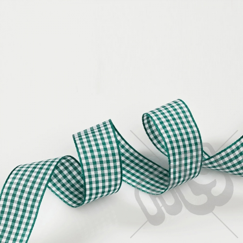 Green Gingham Ribbon 15mm x 20 metres