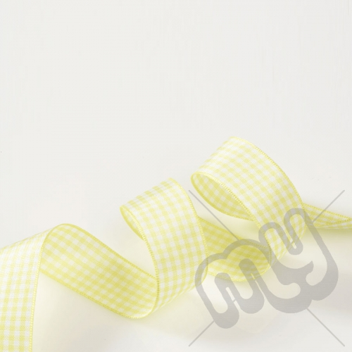 Yellow Gingham Ribbon 10mm x 20 metres