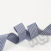 Navy Blue Gingham Ribbon 15mm x 20 metres