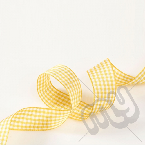 Gold Gingham Ribbon 25mm x 20 metres