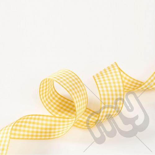 Gold Gingham Ribbon 15mm x 20 metres