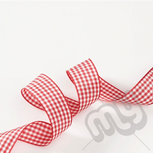 Red Gingham Ribbon 15mm x 20 metres