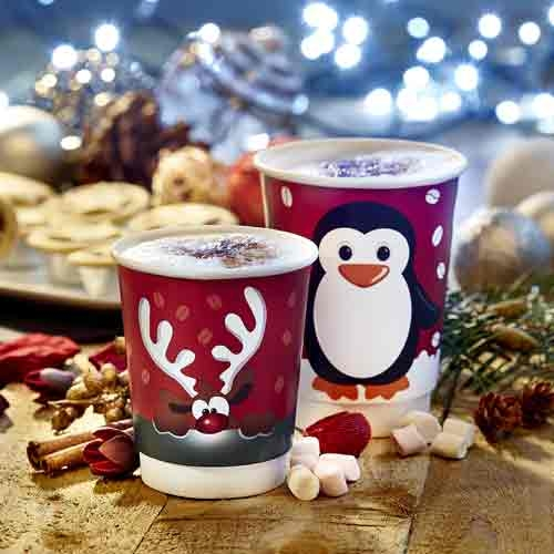 Penguin Design Double Wall Coffee Cups with White Sip Through Lids - 12oz x 50pcs