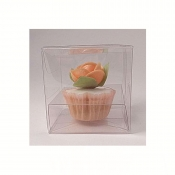 85mm x 85mm x 85mm Clear PVC Cupcake Boxes - With Inserts x 10pcs