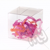 10cm x 10cm x 10cm Clear PVC Flat Folding Favour Boxes x 50pcs