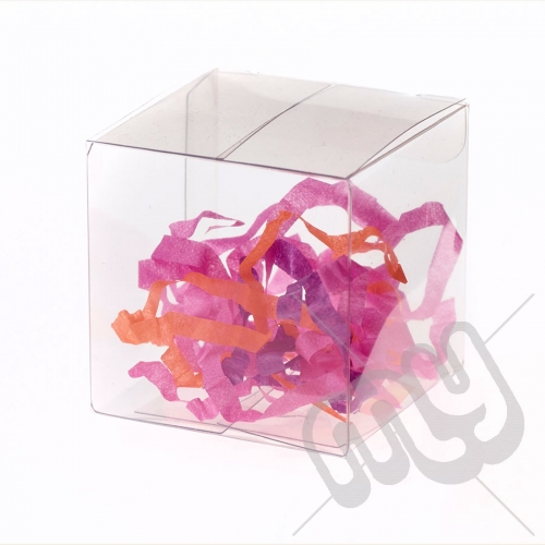 6cm x 6cm x 6cm Clear PVC Flat Folding Favour Boxes x 10pcs