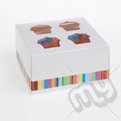 4 Hole Striped Cupcake Box x 25pcs