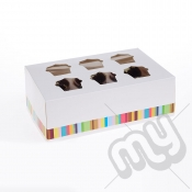 6 Hole Striped Cupcake Box x 25pcs