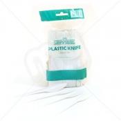 White Disposable Plastic Knives x 100pcs