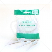 White Disposable Plastic Teaspoons x 100pcs