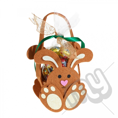 Brown Bunny Felt Bag / Basket