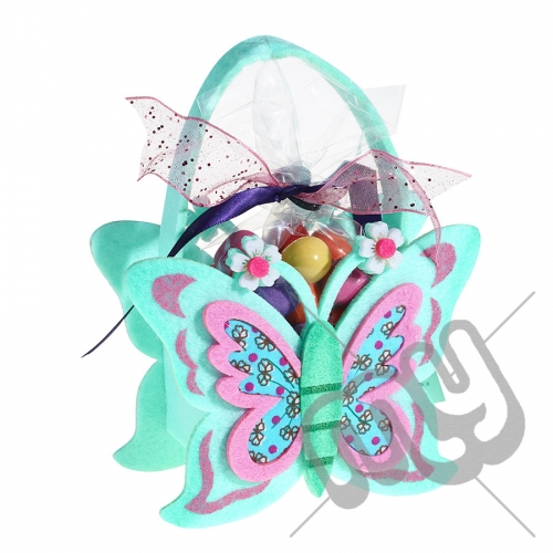 Mint Green Butterfly Felt Bag / Basket