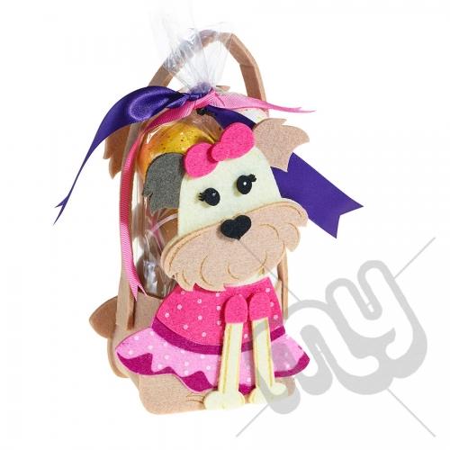 Female Pink Puppy Dog Felt Bag / Basket