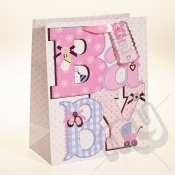 Baby Girl Gift Bag with Foil Detail - Large x 1pc