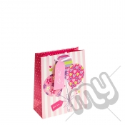 ' With Love For You ' Pink Balloon Gift Bag with Glitter Detail - Medium x 1pc