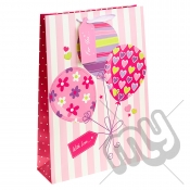 ' With Love For You ' Pink Balloon Gift Bag with Glitter Detail - Extra Large x 1pc