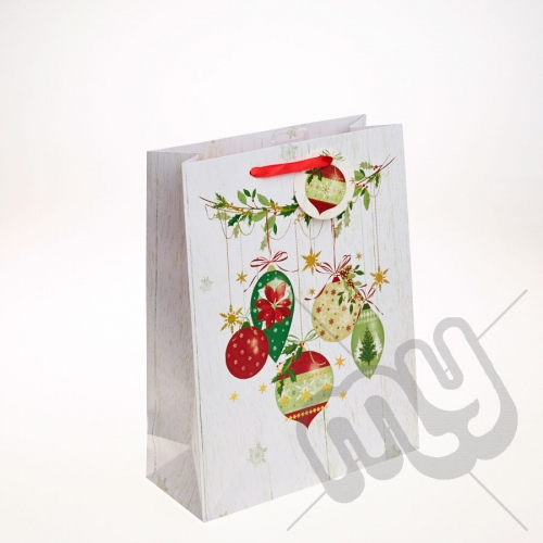 Golden Bauble & Holly Decoration Christmas Gift Bag - Large x 1pc