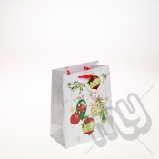 Golden Bauble & Holly Decoration Christmas Gift Bag - Medium x 1pc