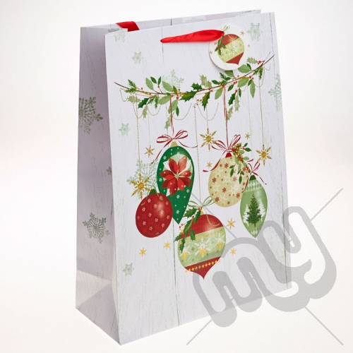 Golden Bauble & Holly Decoration Christmas Gift Bag - Extra Large x 1pc