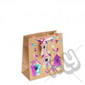 Vintage Garden Birdhouse with Pink Foil Detail - Medium x 1pc