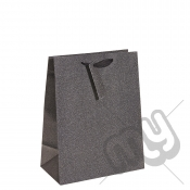 Charcoal Black Glitter Gift Bag - Large x 1pc