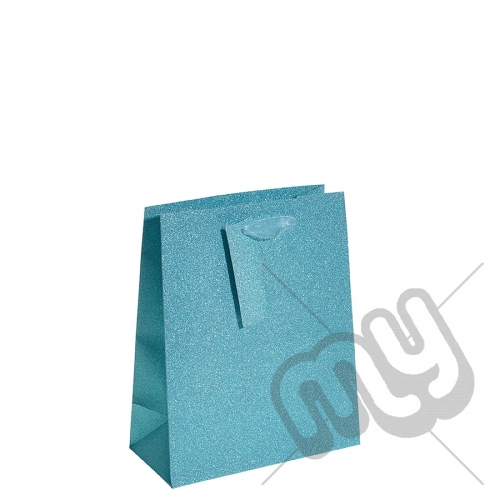 Turquoise Blue Glitter Gift Bag - Medium x 1pc