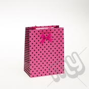 Luxury Pink Polka Dott & Bow Design Paper Gift Bag - Medium x 1pc
