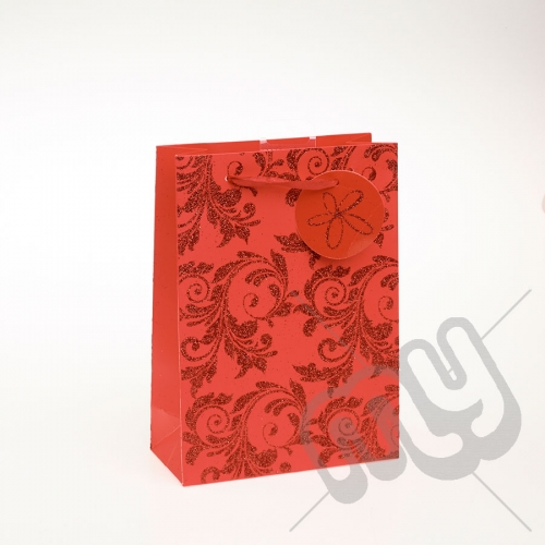 Luxury Red Glitter Paper Gift Bag - Medium x 1pc