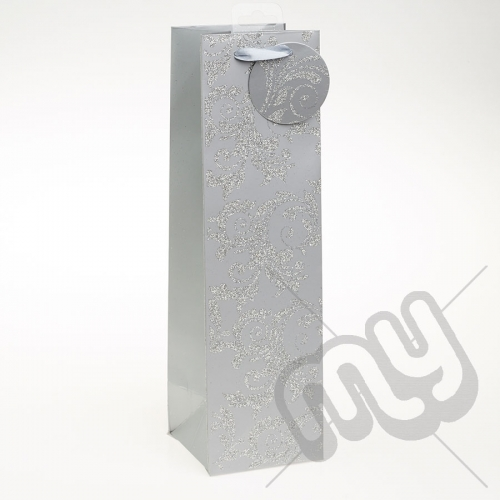 Luxury Silver Glitter Paper Gift Bag - Bottle x 1pc