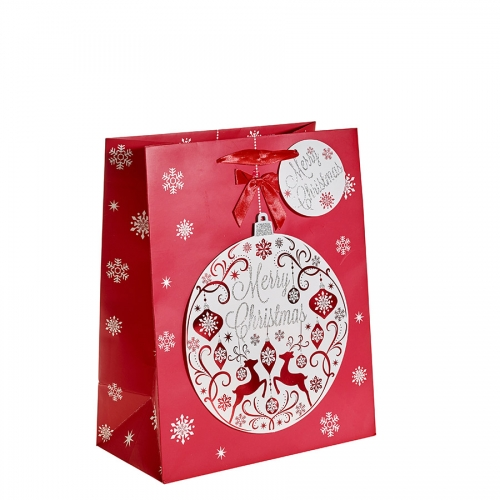Glitter Bauble and Reindeer Christmas Gift Bag – Large x 1pc