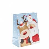 Santa Clause & His Reindeer Christmas Gift Bag – Large x 1pc
