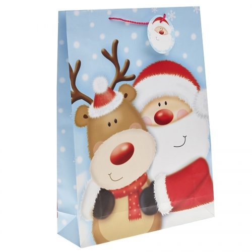 Santa Clause & His Reindeer Christmas Gift Bag – Extra Large x 1pc