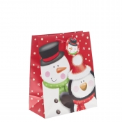 Mr Snowman and Penguin Christmas Gift Bag – Large x 1pc
