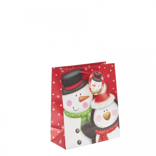 Mr Snowman and Penguin Christmas Gift Bag – Medium x 1pc