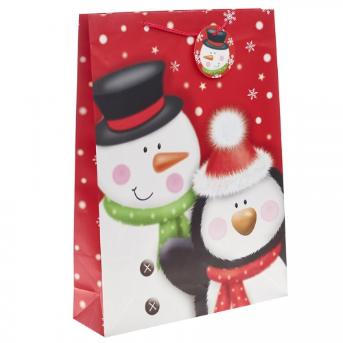 Mr Snowman and Penguin Christmas Gift Bag – Extra Large x 1pc