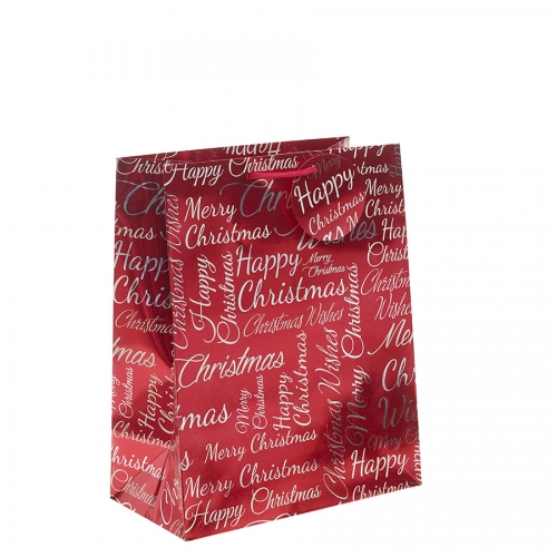 Red Metallic Happy Christmas Gift Bag – Large x 1pc